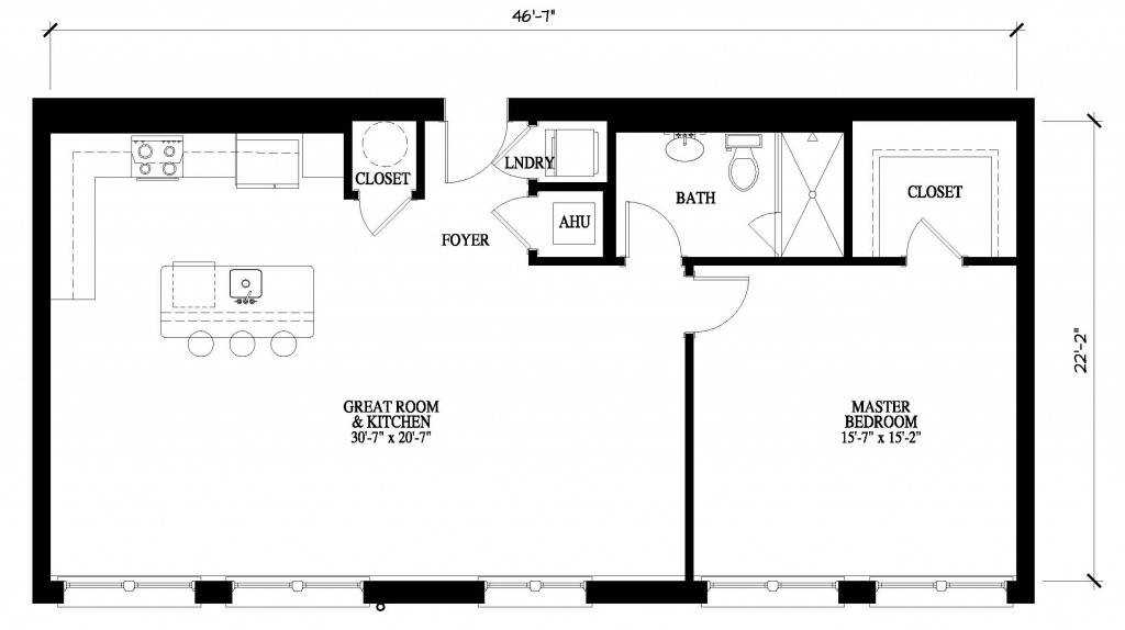 Details abound in one bedroom floor plans at the john for 1 bedroom condo floor plans